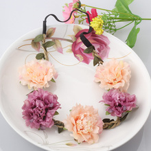 Bohemia Handmade Floral Headband Women Flower Crown Wedding Garland Hair Accessories Girls Flower Hairband Bridal Headdress