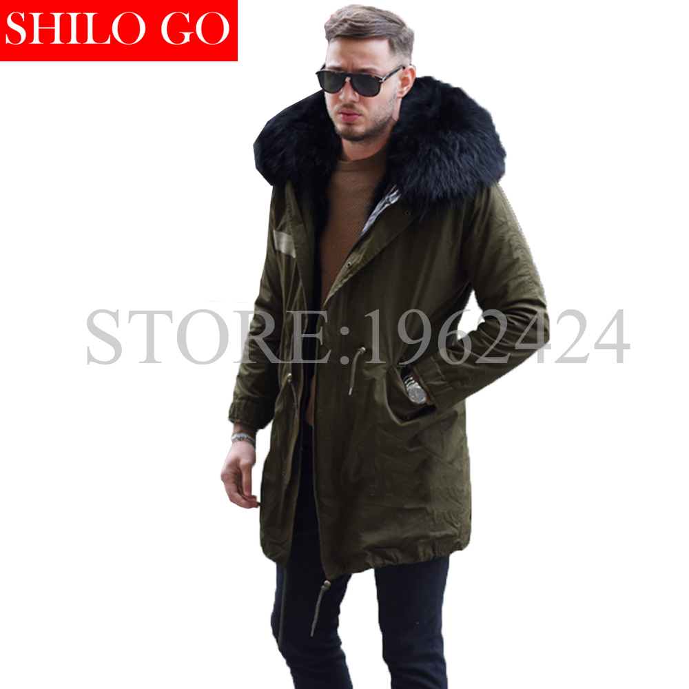 2016 New men Winter Army Green&Black Jacket Coats Thick Parkas Plus Size Real black fox Raccoon Collar Hooded Outwear &Fur coat
