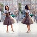 O Envio gratuito de 6 Camadas Puffy Tutu Saia 2017 Mulheres Midi saia Moda Vestido de Festa de Casamento Acessórios Do Casamento Anágua PT03
