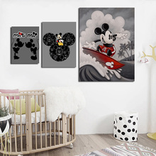 Mickey Mouse Surfing Wallpaper Minimalist Wall Art Canvas Poster And Print Painting Decorative Picture Bedroom Home Decor
