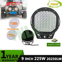 NEW 9inch 225w Led Driving Light IP68 Super Bright Led Work Light 5W XLGP Leds Used
