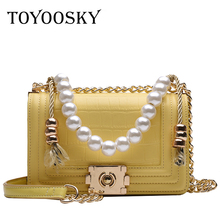 TOYOOSKY Luxury Brand Small Flap Shoulder Bag Alligator Leather Lady Girls Crossbody Bags Pearl Handle Handbag sac main femme womens crossbody bag small flap pu leather v o a designer lady shoulder bag female luxury handbag sacs main femme 2019 bandolera