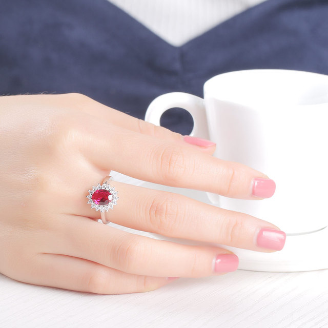 UMCHO Real 925 Sterling Silver Nano Red Gemstone Ruby Rings For Women Princess Diana Wedding Engagement Party Gift Fine Jewelry