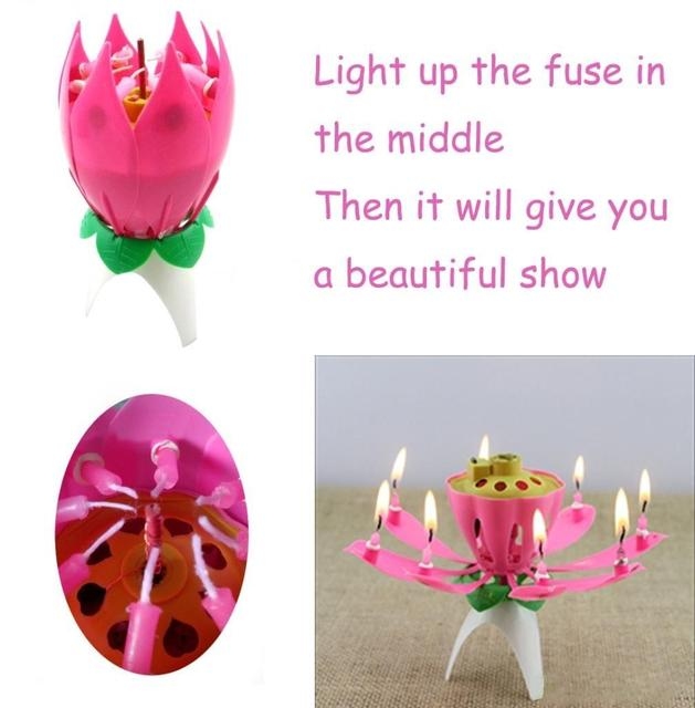 Musical Lotus Rotating Happy Birthday Candle Lights Red