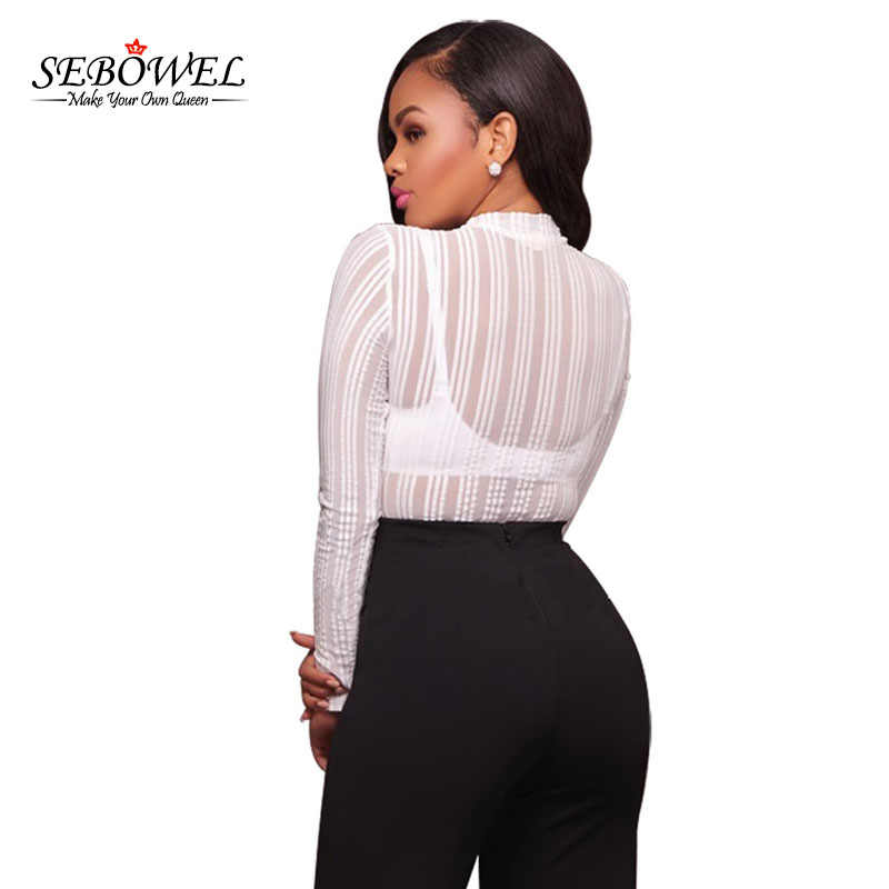 6cfe1db0bc4 ... SEBOWEL Sexy Black Striped Mesh Transparent Bodysuits Women Long  Sleeves High Neck Skinny Body Jumpsuit Club ...