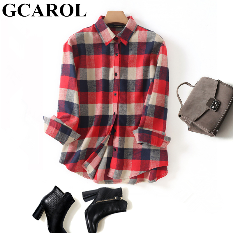 GCAROL 2019 Early Spring Women Colorful Plaid Blouse Oversize Worsted Blends OL Work Shirt High Quality Perfect Basics Tops