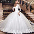 Elegant Charming 2016 STD White Ball Gown V-Neck  Appliqued Organza Wedding Dresses Lace Beaded Crystal Floor-Length Bridal Gown