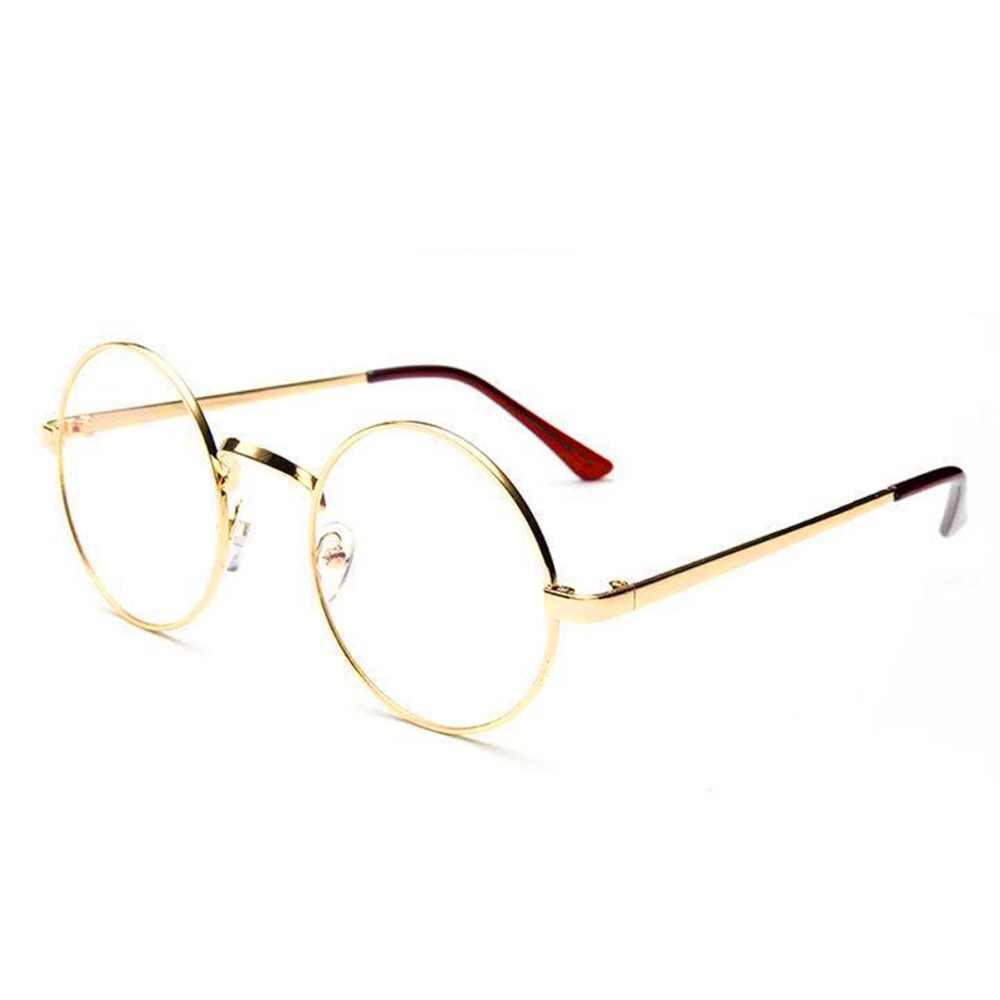 Новые унисекс винтажные круглые очки для чтения, металлическая оправа, Ретро Личность, стиль колледжа, прозрачные линзы, оправа для очков