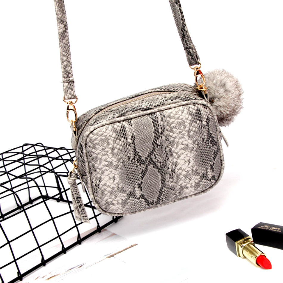 2018 new fashion small square bag lady single shoulder bag snake pattern female bag Messenger Bag