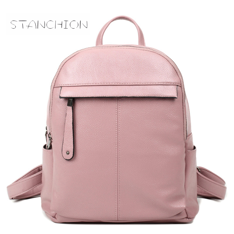 Backpack Faux Leather Women Daily Multifunctional Rucksack Zipper Solid School Bags For Girls Shoulder Bags