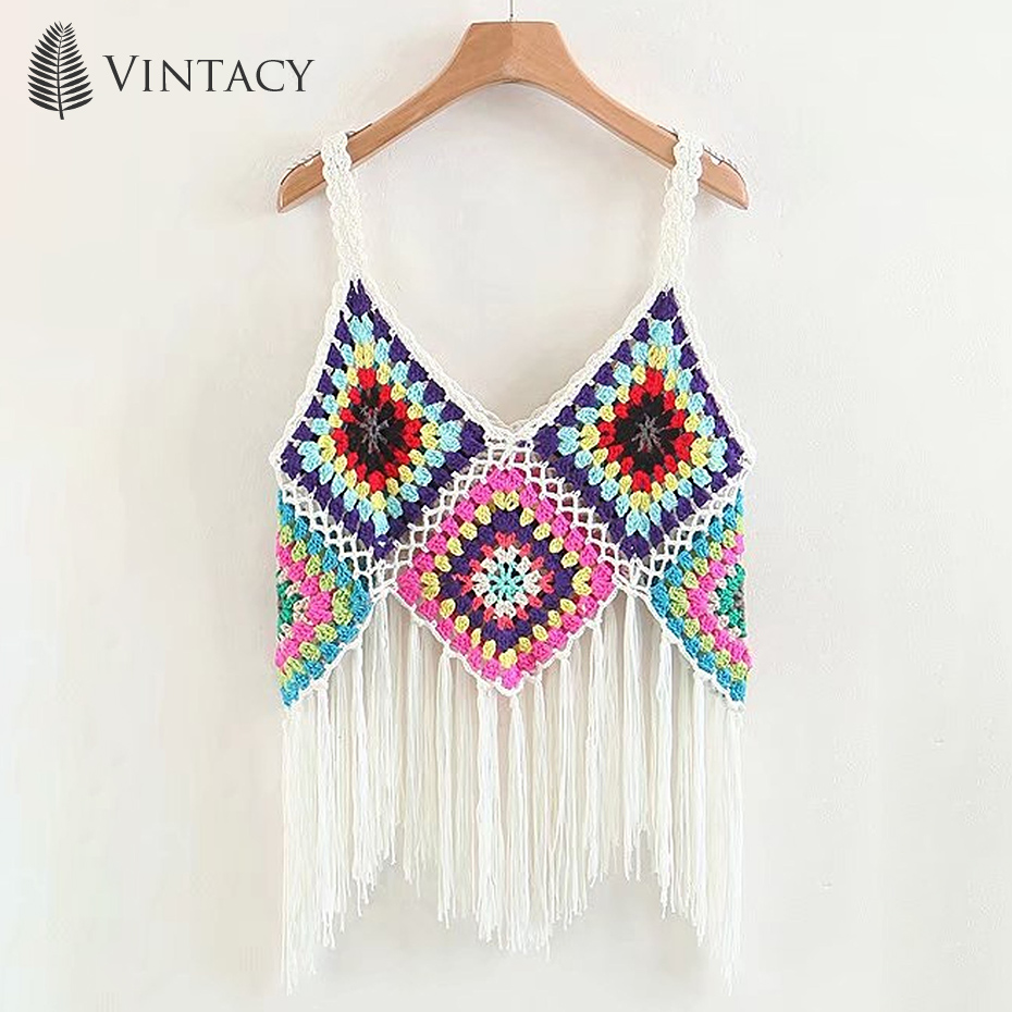 Boho Tassel Crop   Tops   Women Crochet Knitted Gypsy Chic Fringe Hollow Out Inspired Cami Vest Summer Beach Bohemian   Tank     Tops