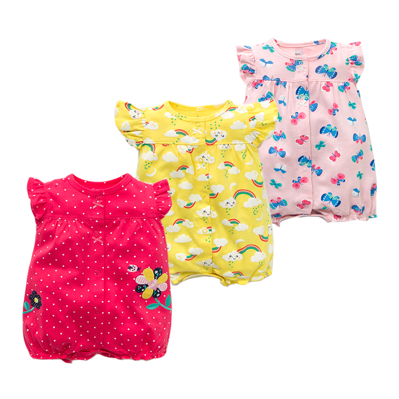 Summer Baby Rompers Baby Girls Clothing 100% Cotton Newborn Cartoon Short Sleeve Baby Boy Clothes Infant Jumpsuits Kids Clothes