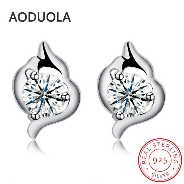 2017 New 925 Sterling Silver Dolphin Stud Earring With Zircon Earrings For Women Bridal Fashion Ear