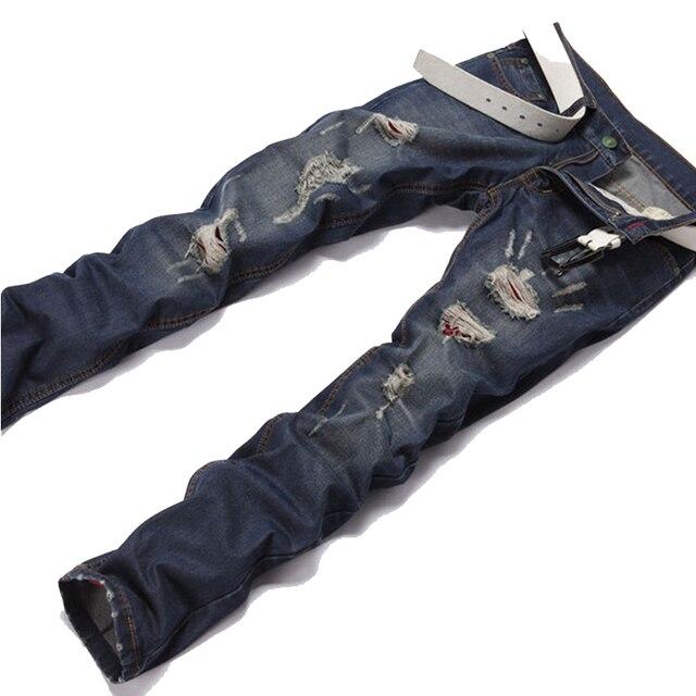 2016 medio tendencia productos pantalones recta rectos de hombre corea mejores creativa geniales juventud peso raídos frwOf