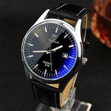 YAZOLE relojes de los hombres nueva marca de moda de lujo dial redondo impermeable Azul espejo Luminoso calendario aguja mesa de Cuarzo reloj de hombre