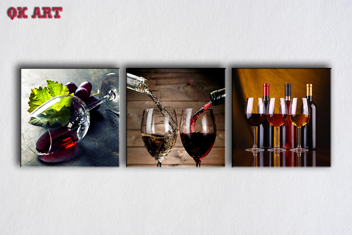 3 pieces paintings for the rea wine wine glass wall decor modern canvas art wall - Wine Wall Decor