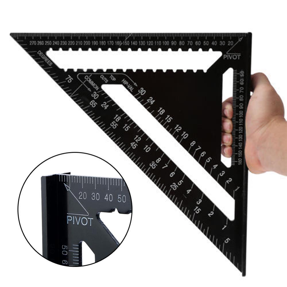 Regla triangular de 7/12 pulgadas para carpintería, herramienta de medición de calibre de diseño cuadrado, medidores de carpintería, tractores