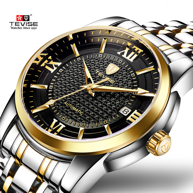 TEVISE Business Mechanical Watches Mens Military Quality Brand Automatic Watch Men Gold Steel Calendar Waterproof Relojes Hombre tevise fashion auto date automatic self wind watches stainless steel luxury gold black watch men mechanical t629a with tool