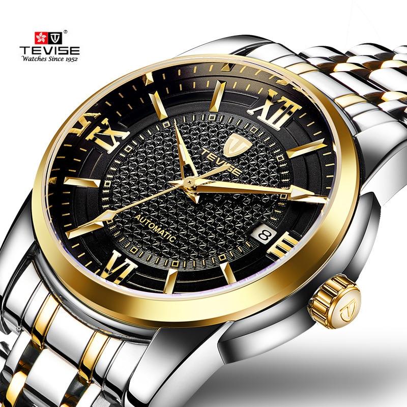 цена TEVISE Business Mechanical Watches Mens Military Quality Brand Automatic Watch Men Gold Steel Calendar Waterproof Relojes Hombre онлайн в 2017 году