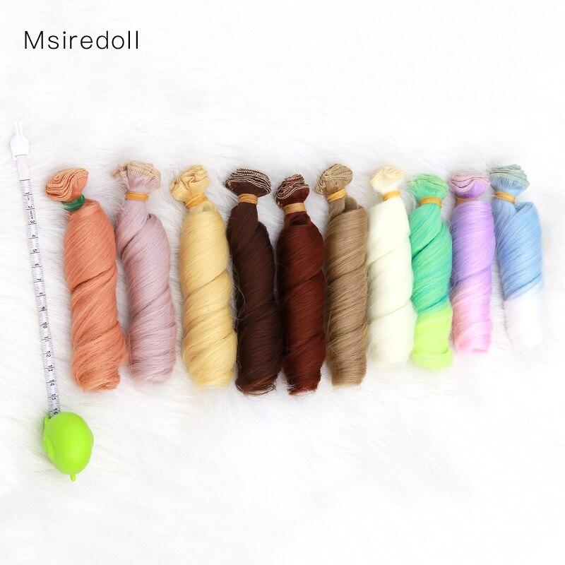 Msiredoll Bjd Wig  1piece 15*100CM Doll Hair For 1/3 1/4 1/6 1/12  Curly Doll Hair Bjd Wig Diy  Free Shipping