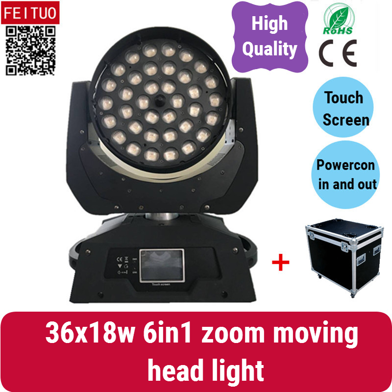 2 avec fly cas super lumineux 36x18 w rgbwa uv LED moving head wash, 6 dans 1 LED zoom tête mobile