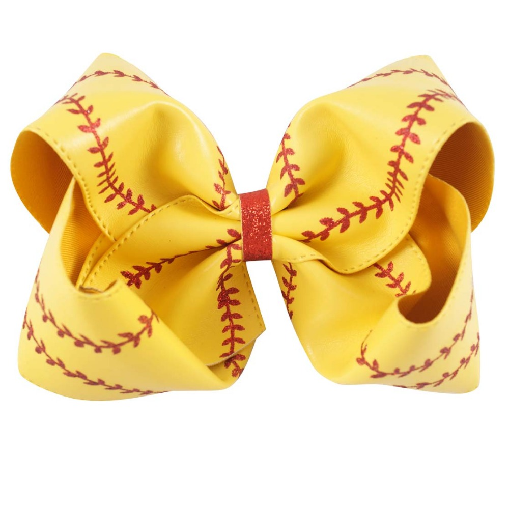 "Image 4 - 7"" Large Leather Baseball Hair Bow With Hair Clip For Kids Girls Handmade Big Glitter Softball Bow Hairgrips Hair Accessories-in Hair Accessories from Mother & Kids"