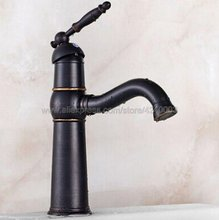 Oil Rubbed Bronze Single Hole / Handle Bathroom Basin Faucet Brass Vessel Sink Water Tap Knf044 automatic touchless sensor waterfall bathroom sink vessel faucet oil rubbed bronze with hole cover plate
