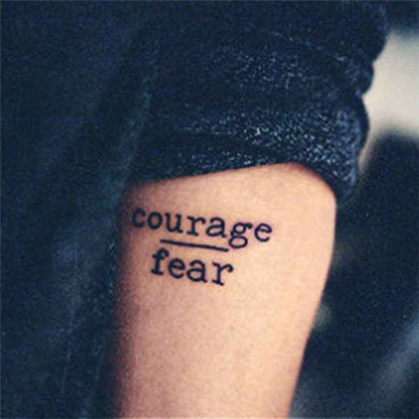 Rocooart HC1113 Waterproof Temporary Tattoo Stickers Courage Fear Heart Mind Letters Design Water Transfer Harajuku Fake Tattoo in Temporary Tattoos from Beauty Health