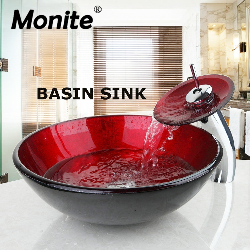 Red Round Washroom Basin Vessel Vanity Sink & Bathroom Mixer Tempered Glass Basin Sink Washbasin Faucet Set With Drain