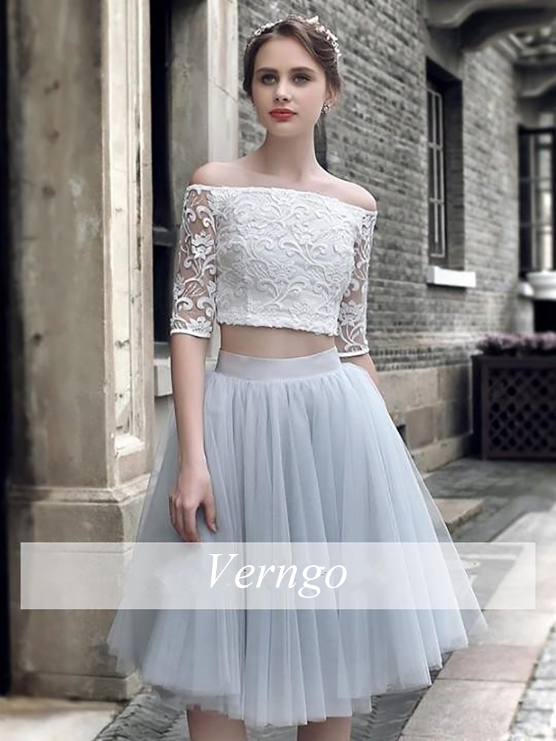 Verngo Ivory Silver Contrast Color Evening Dress 2019 Two Piece Party Gown Tulle Suknia Wieczorowa