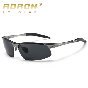 AORON Driving Polaroid Sun Glasses Aluminum Frame Sports Sunglasses Men Polarized Driver Retro UV400 Anti-glare Goggles(China)