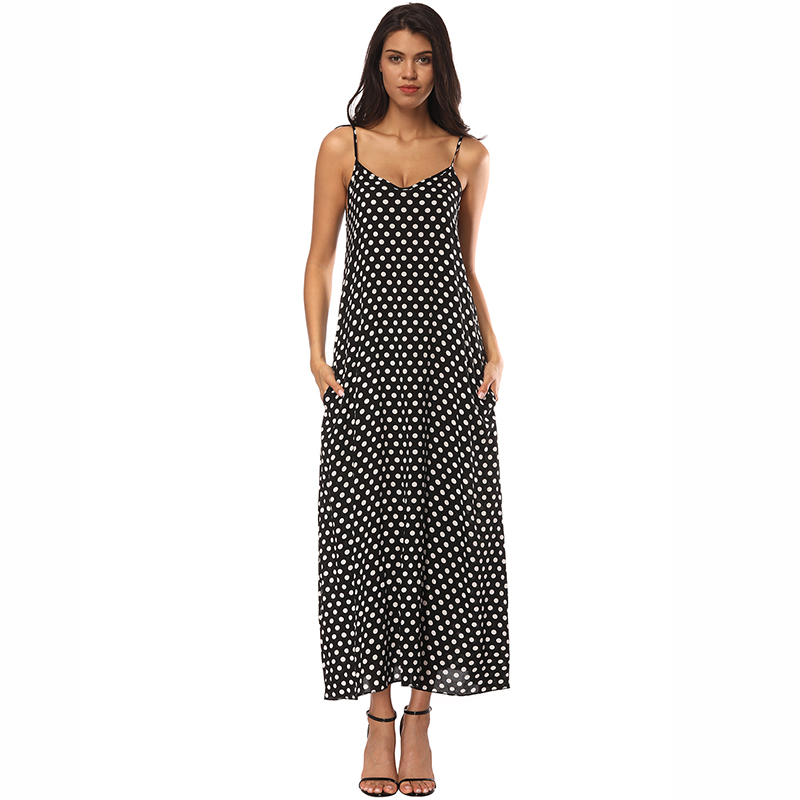 Summer Dress 2018 Fashion Women Dress Spaghetti Straps Polka Dot Loose Beach Long Maxi Dresses Vintage Vestidos Plus Size
