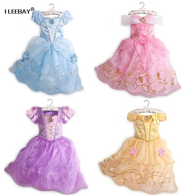 Beebitüdrukute printsessikleit Lastele šifoonkleidid Tuhkatriinu Rapunzel Aurora Belle Vestidos Tüdrukute Cosplay lumevalge kostüüm