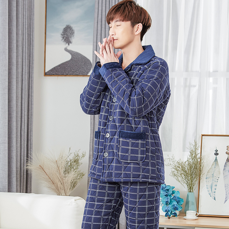 Three Layer Thickening Winter Pajamas Men Quilted Jacket Cotton Quilted Pyjamas Mens Thick Male Tracksuit Plus Size Suit XXXL
