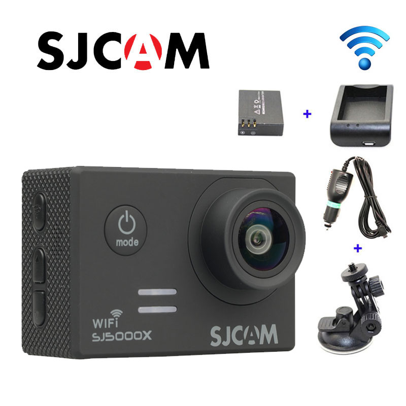 Free shipping!!Original SJCAM SJ5000X WiFi Elite 4K 24fps Gyro Action Cam +Extra 1pcs Battery+Battery Charger+Car Charger+Holder free shipping original sjcam m10 wifi mini action camera extra 1pcs battery battery charger car charger holder the monopod