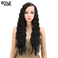Styleicon Hair Extension Lace Front Wig 28 Inch Long Deep Wave Red African American Synthetic Lace Front Wig For Women 1B Color