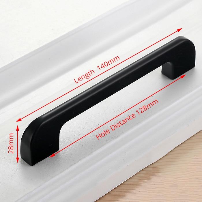 NAIERDI черные ручки шкафа американский стиль твердый алюминиевый сплав кухонный шкаф ручки для выдвижных ящиков оборудование для обработки мебели - Цвет: Handle-5005L-128B