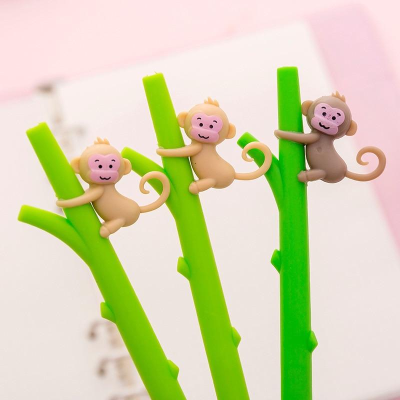 Office & School Supplies 32 Pcs/lot Cartoon Monkey Gel Pens Cute Bamboo 0.5mm Black Ink Neutral Pen Material Escolar Stationery School Writing Supplies