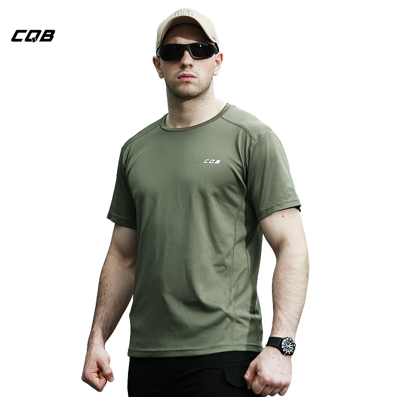 CQB Лето тактические Пеший Туризм футболка Для мужчин быстросохнущая дышащий Coolmax Топы Военная обучение эластичные футболки Рыбалка рубашка... ...
