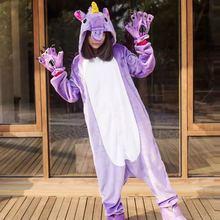 2018 Unicorn Pajamas Onesie Kingurumi panda Winter Flannel Pajamas Kigurumi Women adult Nightie Stitch unicorn pajamas Kengurumi