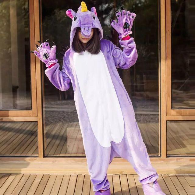 2019 единорог пижамы onesie для женщин кугуруми панда зимние Фланелевые Kigurumi взрослых Ночная рубашка стежка unicornio комбинезон