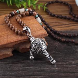WEIYU New Tibet Prayer Wheel Charms Pendant Necklace Buddhist Mala Wood Beads Necklaces Vintage Mantra Long Sweater Necklace(China)