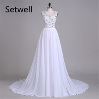 Setwell White Wedding Dresses Summer Chiffon Wedding Gowns Illusion Neckline Backless Bridal Dresses Beading Wedding Dress