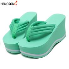bc86389d2f2ea Women Beach Flip Flops Soild Wedge Platform Shoes Summer Slippers Women Shoe  High Heels Beach Sandals Ladies Thick High Pantufas