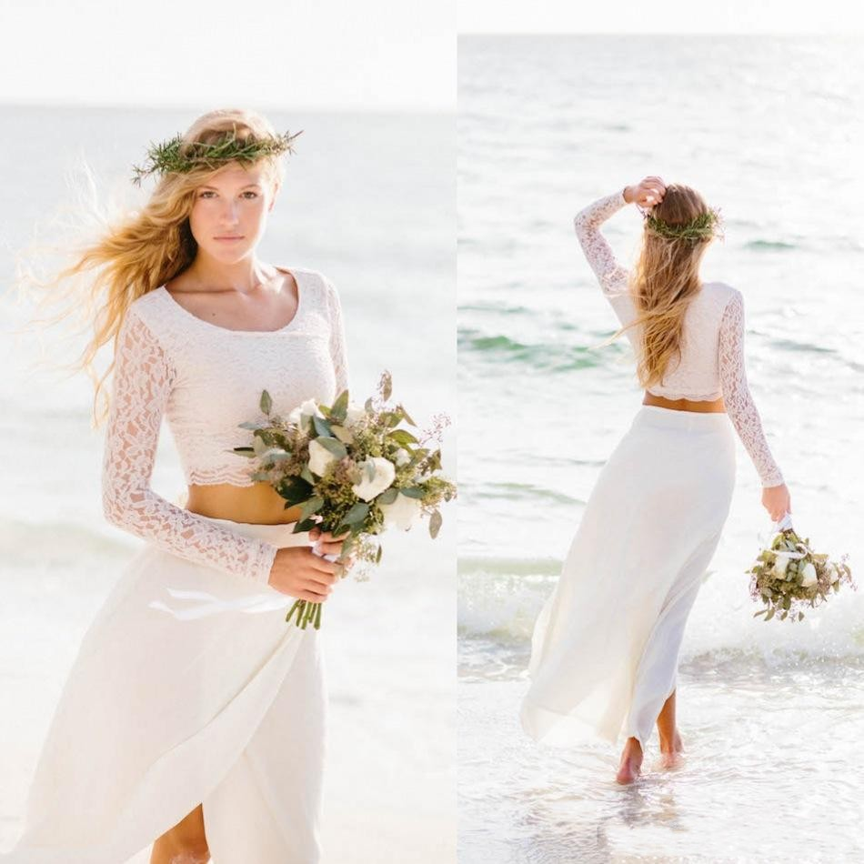 wedding dress 2 piece Moonlight Style J Airy two piece wedding dress with a French lace capelet Country wedding