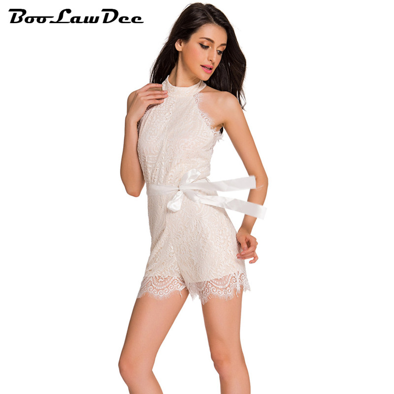 BooLawDee Lace <font><b>nude</b></font> illusion Stylish Romper sashes playsuit women sleeveless zipper closure S <font><b>M</b></font> L white red black <font><b>blue</b></font> F35027