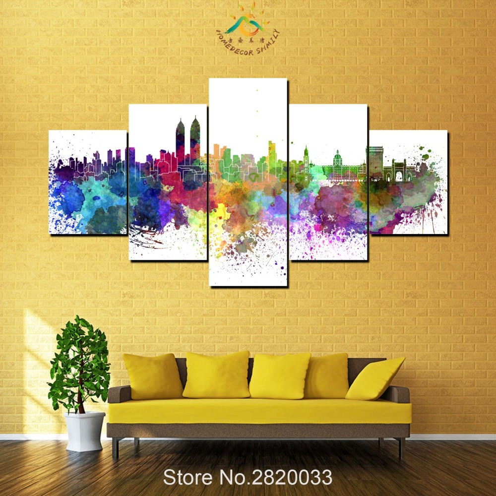 5 Piece Mumbai Abstract City View Canvas Art Wall Pictures Canvas ...