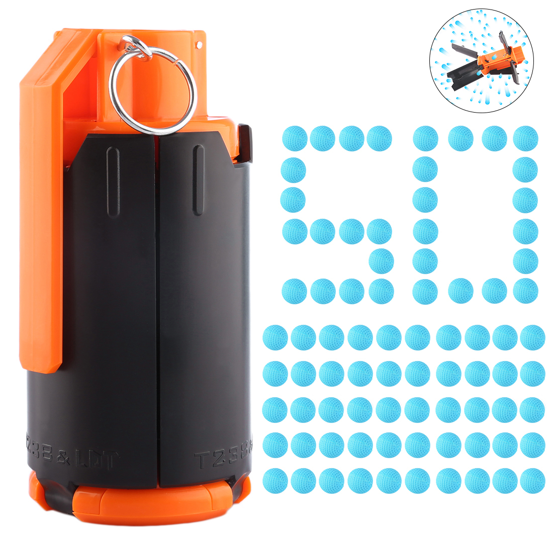 Hot Tactical Plastic Modified Crystal Water Beads Bullet Bomb with 50pcs Round Soft Bullet Foam Bullets for nerf Rival series