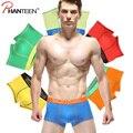 7 piezas/lote alta calidad hombre boxer shorts men underwear casual hombres de la moda del color del remiendo elástico transpirable ropa
