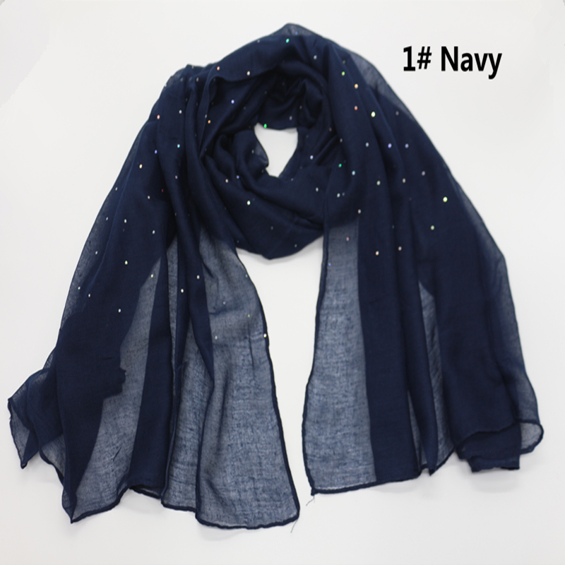 Plain Solid Glitter Sparkling Sequin Women Scarf Scarves